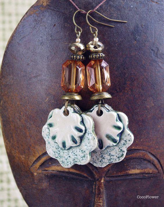 Rhinestone earrings, clear earrings, ceramic flower, evening jewelry, party jewelry, spring flower, garden party, pink or green, porcelain  • 1