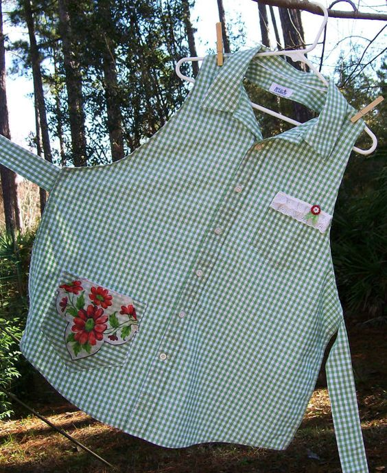Upcycled Repurposed Woman's Shirt Apron with Vintage Hankie and Button Green & Red: