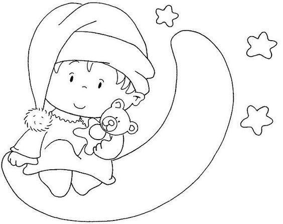 Dibujo Bebe Sobre La Luna Para Bordar O Colorear Dibujo De Bebe