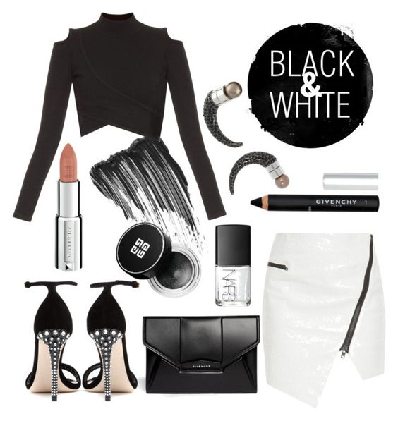 """""""BLACK & WHITE"""" by dreamer-for-days ❤ liked on Polyvore featuring Givenchy, Jonathan Simkhai, Miu Miu and NARS Cosmetics"""