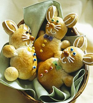 These fun bunny-shaped rolls are made with a rich yeast dough and perfect for an Easter brunch. Enlist family members to help roll the dough into balls to shape into bunnies.: