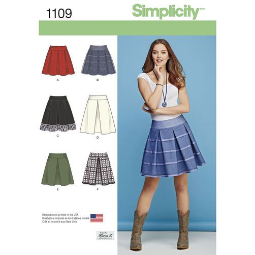 Simplicity Pattern 1109 Misses' Skirts with Length and Trim Variations: