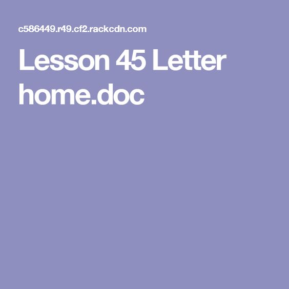 Lesson 8 letter homedoc Primary Pinterest - letter in doc