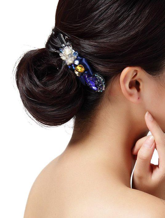 Pretty Silk Crystal Man Pearls Handmade Vintage Design Hairpins Hair Jewelry