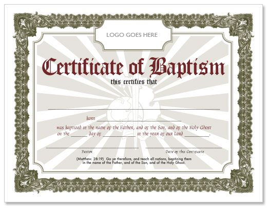 Editable baptism certificate template baptismal for Free water baptism certificate template