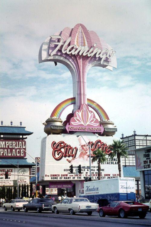 Las Vegas, December 1982. Imperial Palace, Flamingo and a De Tomaso Pantera. Photo by Chris B