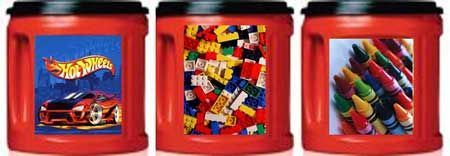 Free Printable Coffee Can Labels - Use old plastic coffee tubs for car, lego, crayon storage!