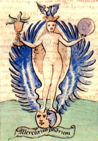 """Il """"Mercurio dei filosofi"""" rappresentato come """"anima del mondo"""". Da un manoscritto del XVI secolo.:"""