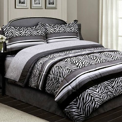 Classic Black And White Bedroom Zebra Bedroom Ideas White Bedroom Background Bedroom New: Details About #AL Bed In A Bag Comforter Bedding Set