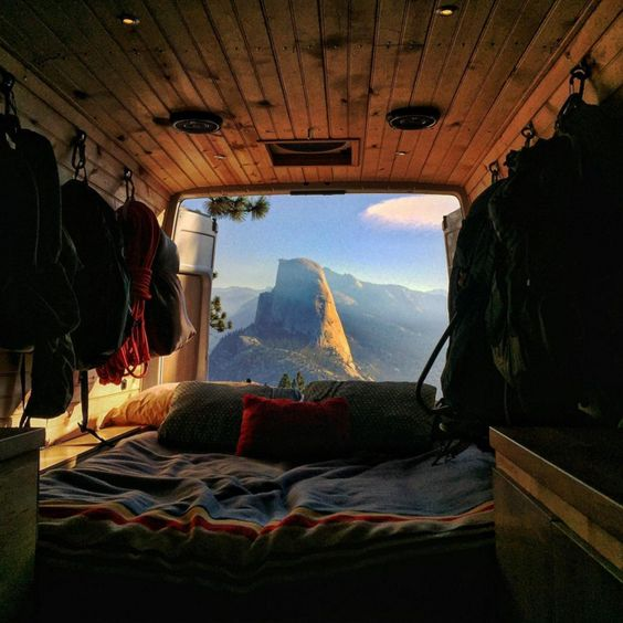 Sprinter Van in Yosemite overlooking Half Dome