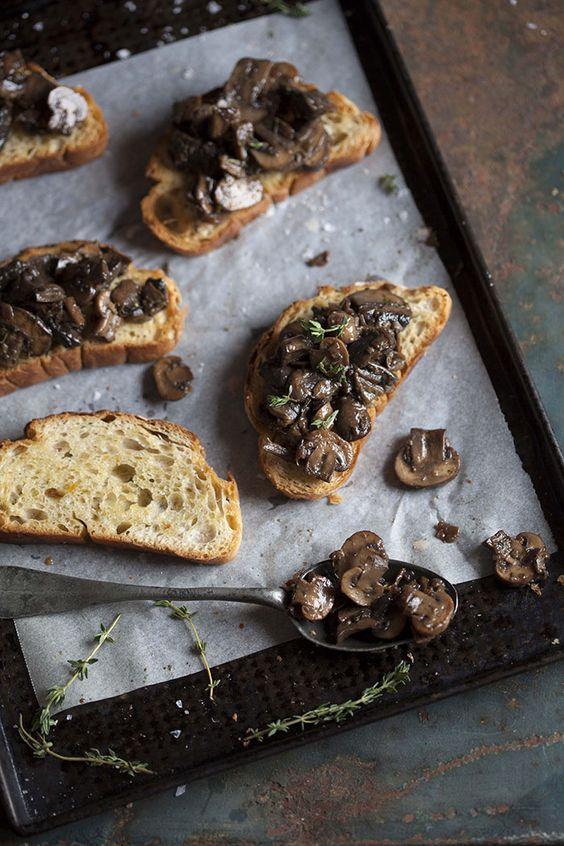Mushroom Ragout on Oven Baked Toast