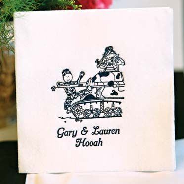 Tank Couple on your #weddingreceptionnapkins! These are not your regular 3ply napkins but a more substantial linen-like napkin. Check out our other military designs on www.FavorsYouKeep.com or call us at 512.323.0600 #militaryweddingideas #armyweddingideas #cuteweddingnapkinsmilitary $40.00 per 100