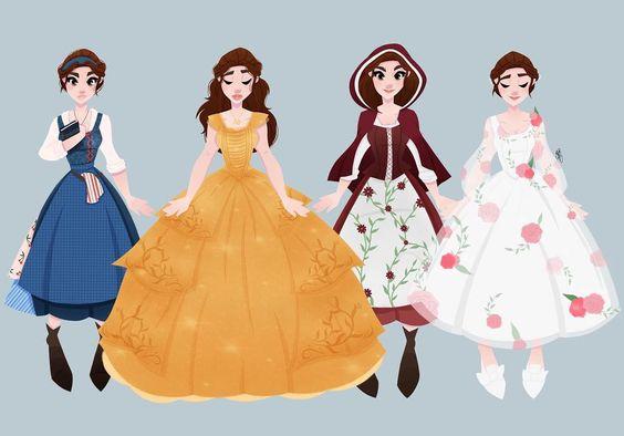 """73 kedvelés, 2 hozzászólás – Erin (@butternut_gouache) Instagram-hozzászólása: """"Here is the full lineup of all of belle's dresses in the new Beauty and The Beast. I hope you enjoy…"""""""