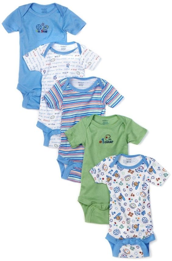 Gerber Baby-boys Newborn 5 Pack Variety Onesie, (onesies, baby boy, baby clothes, bodysuits, gerber, body suits, bodysuit, luvable friends, 3-6 months, baby) baby-products baby-clothes