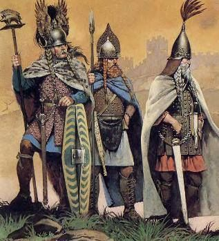 Iron Age Celtic nobles from Gaul (France or Northern Italy) The Celts of Gaul were considered by the Romans to be far more civilized than the tribes from Germania. The Montefortino style helmet (stereotypical Roman helmet) was of Gallic inspiration, and the celts of Cisalpine Gaul (now northern Italy) are possibly the inventors of chain maille (Lorica hamata). -DK