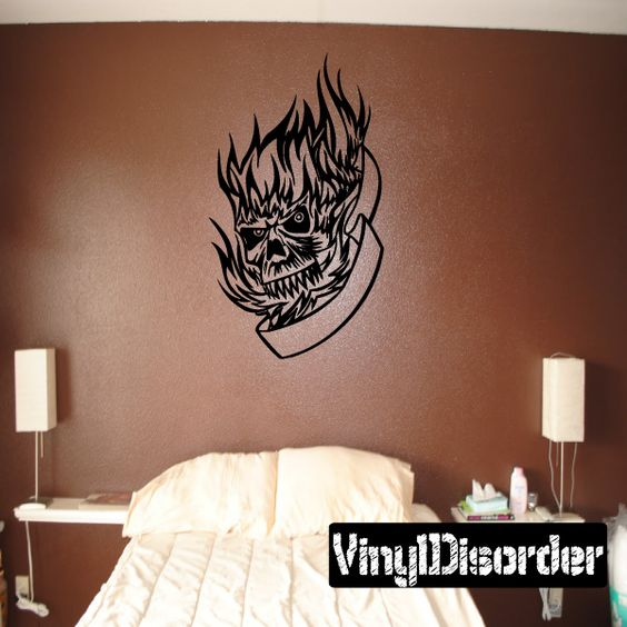 Tattoo Skull Wall Decal - Vinyl Decal - Car Decal - DC 12036