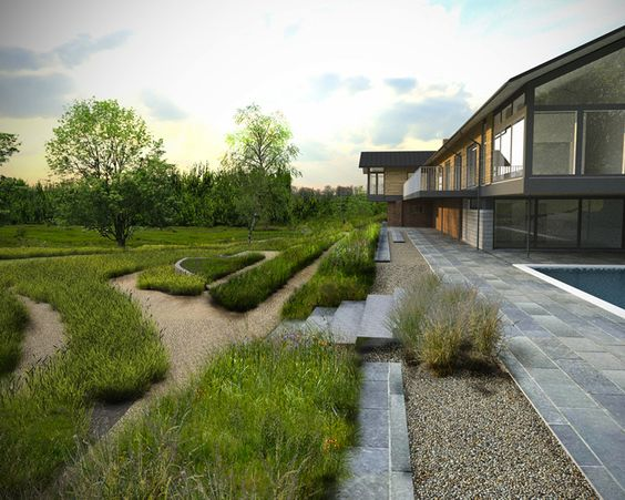 Modern natural gardens winchester paving surface for Rural landscape design