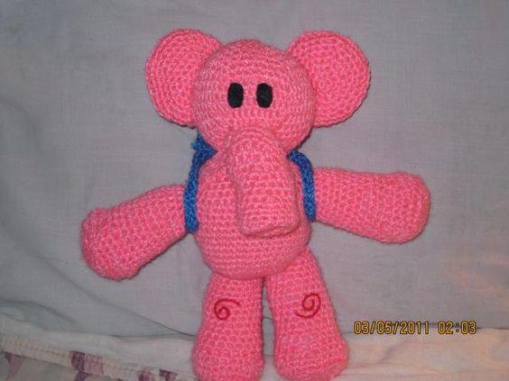 amigurumi Eli la elefante (de la serie infantil Pocoyo)