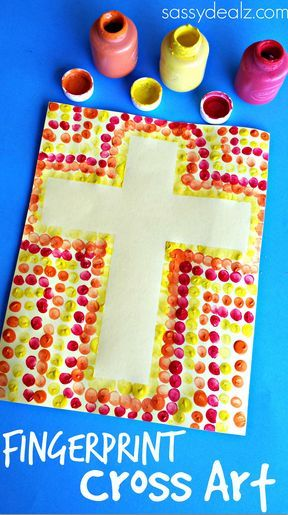 Fingerprint Cross Art Project for Kids #Easter craft | http://www.sassydealz.com/2014/03/easy-fingerprint-cross-activity-kids.html: