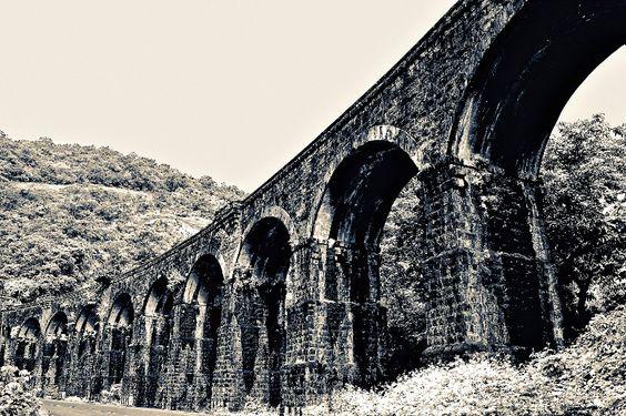 13-arch meter-guage railway flyover at Thenmala, Kerala.