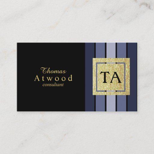 Gold Monogram Business Cards Black Navy Blue In 2021 Black Business Card Gold Monogram Blue Business Card