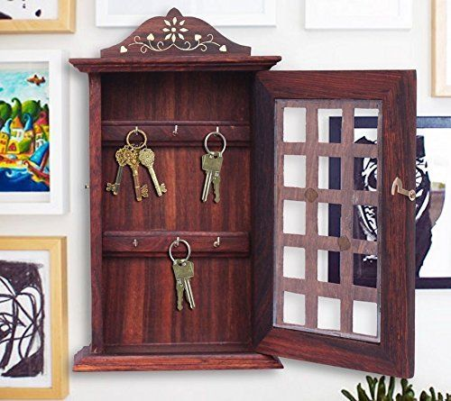 Indian Hand Crafted 13 Wooden Key Box Checks Inlay Work Key Holder Decorative Brown Color Key Cabinet Organizer 6 Hooks For Your Dream Home Easter Day Mot With Images Key