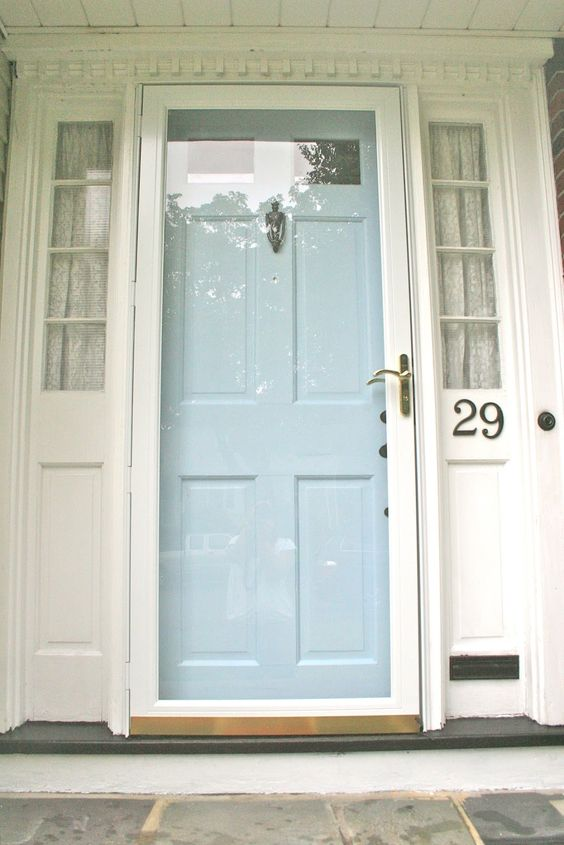 No. 29 design - painted front door and hardware: Storm Door, Decorating Idea, Glass Doors, Blue Front Doors, Paint Colors, Martha Stewart, Painted Doors, Painted Front Doors