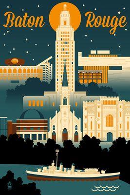 Baton Rouge, Louisiana - Retro Skyline - Lantern Press Artwork