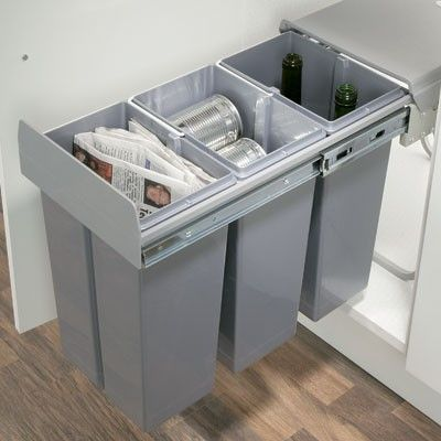 kitchen cabinet waste bins pull out self closing recycling kitchen waste bin 3 x 10 19772
