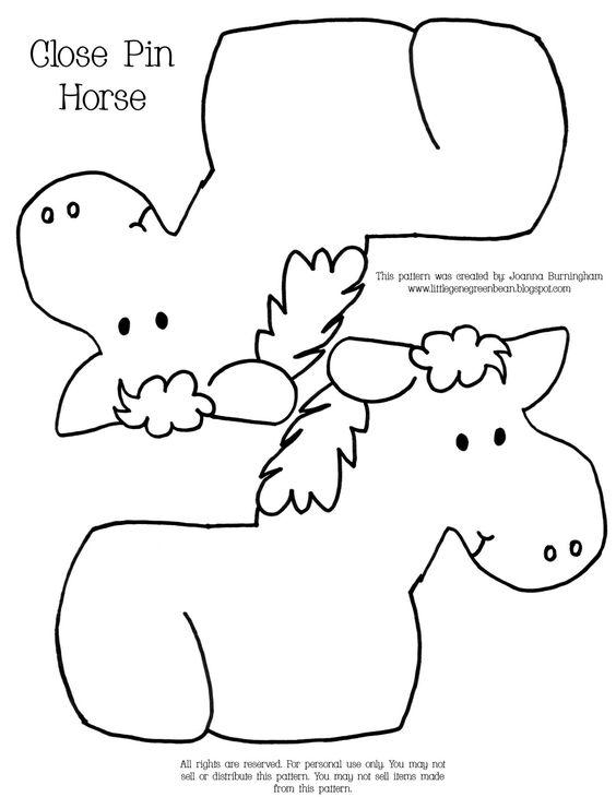 Little Gene Green Bean Close Pin Horses Montessori