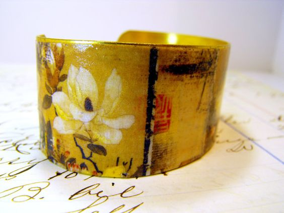 Brass Cuff Bracelet Handpainted Gold Accents  by ClassicKeepsakes, $24.00