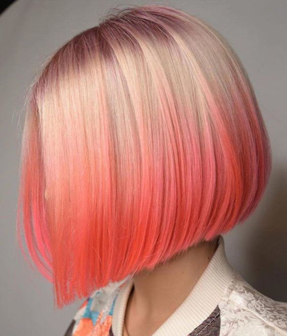 Bold-Hair-Colors-to-Try-in-2019 ombre coral hair