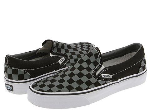 vans black checkerboard slip ons