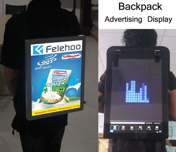 backpack lcd screen advertising player,backpack mobile screen supplier