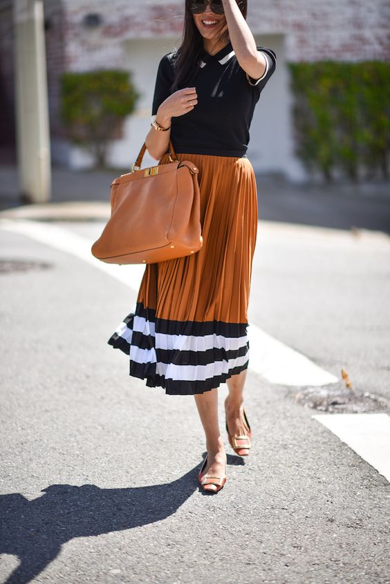 Stripes and Pleats | 9to5Chic | Bloglovin'