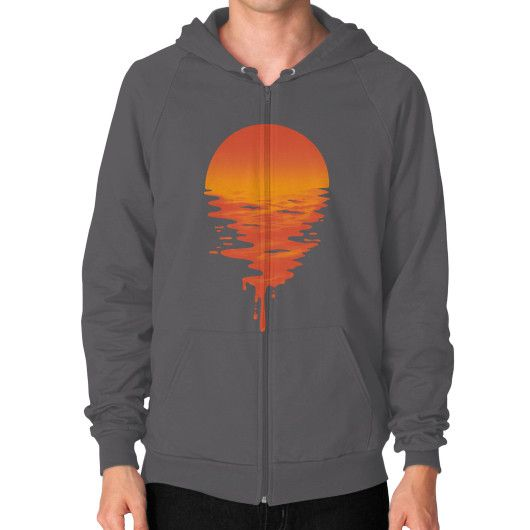 Sunset 6 Zip Hoodie (on man)
