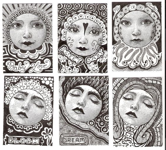 Zentangles with faces stamped face images with permanent for Doodle art faces