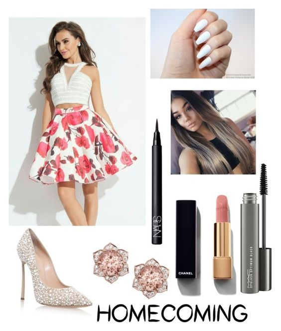 """Homecoming Style"" by trey-my-angel ❤ liked on Polyvore featuring Casadei, Chanel, MAC Cosmetics and NARS Cosmetics"