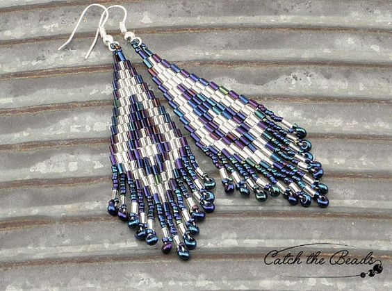 Navy Blue and Silver Beaded Earrings by CatchTheBeads on Etsy