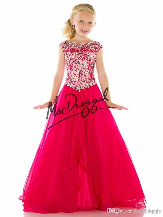 Custom Elegant Little rosie Pageant Dresses for Girls Bateau Crystals Beads Kids Prom Dress Floor Length Zipper flower girl dress