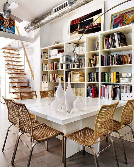 Ambientes multifuncionais - Biblioteca na Sala de Jantar:
