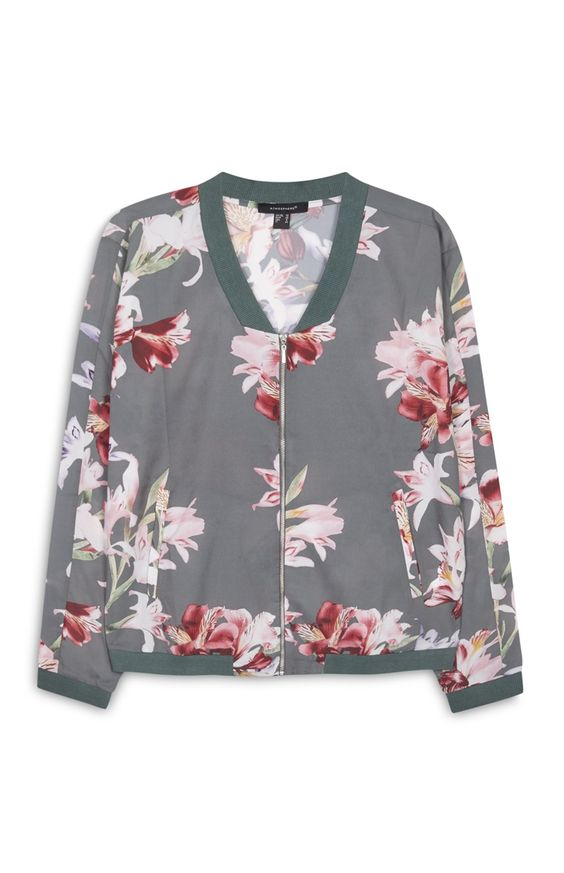 Grey Floral Printed Bomber Jacket