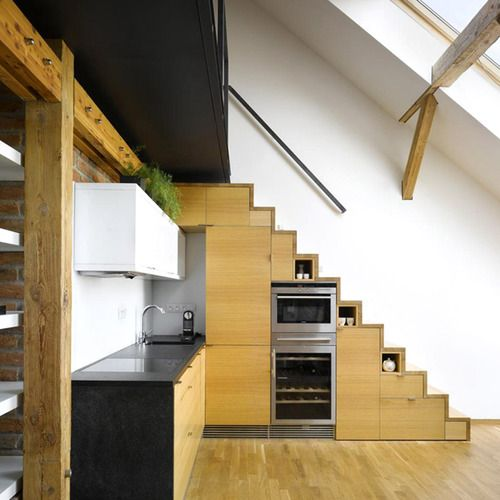 clever use of space !  #small kitchen #open plan