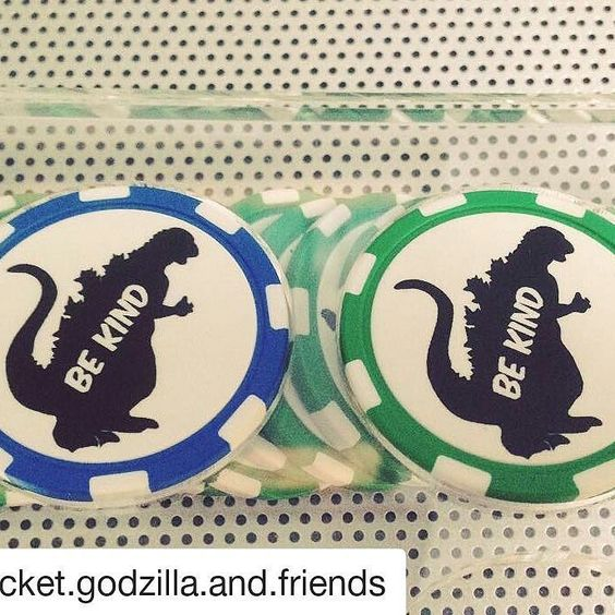 #Repost @pocket.godzilla.and.friends with @repostapp  Yup our newest poker chips arrived from @chiplab! These green lil monsters will be included in future giveaways and good-cause auctions/raffles. And don't worry we'll be going through all the colors in the rainbow for our Be Kind poker chips so keep a lookout for your favorite color! #pocketgodzillaandfriends #chiplab #collecttherainbow