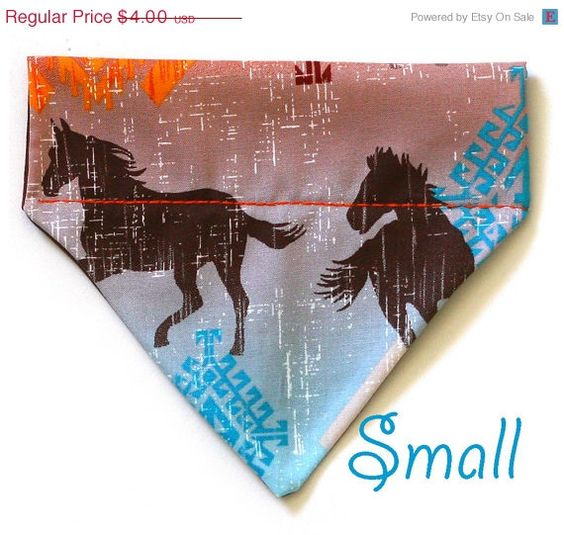 ON SALE Western Dog Scarf  Small  Wild Horses  by Pugs2Persians, $3.60