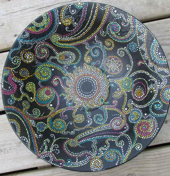 large upcycled vintage aluminum bowl hand painted abstract cosmic dots original by paintallday on Etsy