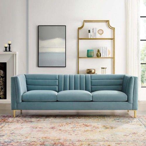 Light Blue Velvet Vertical Horizontal Channel Tufted Sofa Blue Sofas Living Room Blue Couch Living Room Light Blue Sofa
