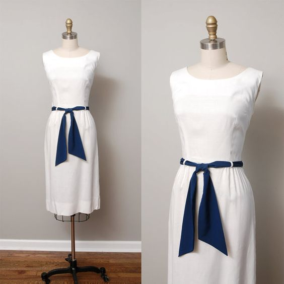 1950s Dress  White 50s Day Dress with Navy by OldFaithfulVintage