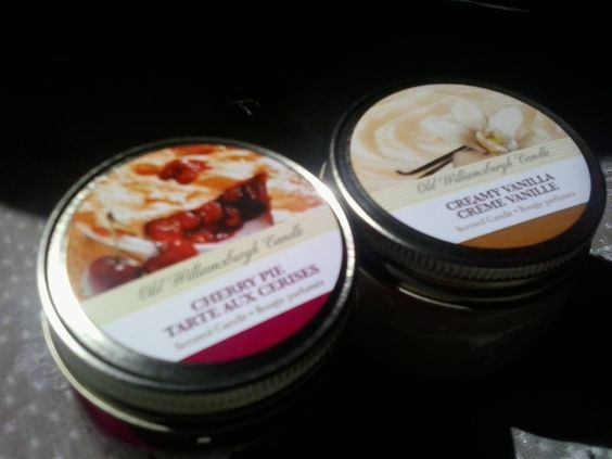 Old Williamsburgh Candle, Cherry Pie and Creamy Vanilla. Amazing scented candles, from the dollar store even!