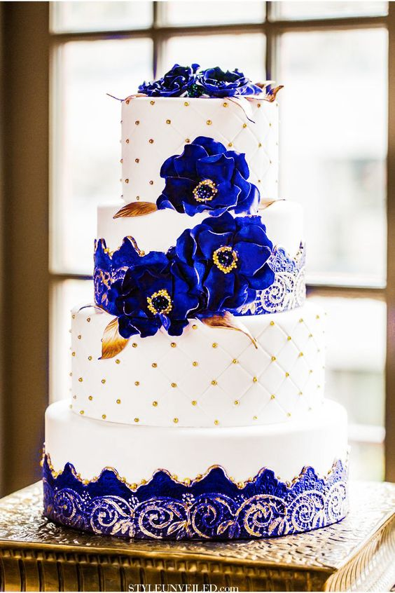 white gold and royal blue wedding cake royal blue and gold wedding cake big sissy s 27292